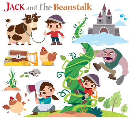 Vector Illustration of Cartoon characters Jack and the beanstalk. Fairy tale characters set.