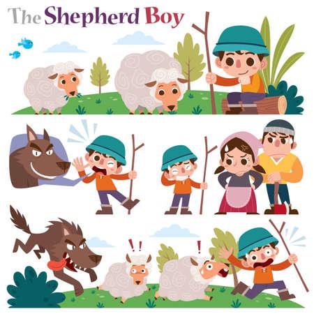 Vector Illustration of Cartoon characters The Shepherd boy.