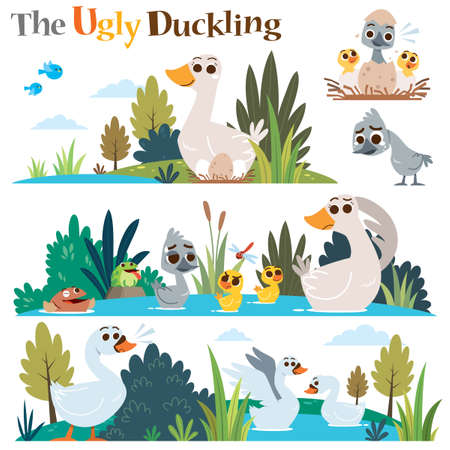 Vector Illustration of Cartoon characters The ugly duckling.