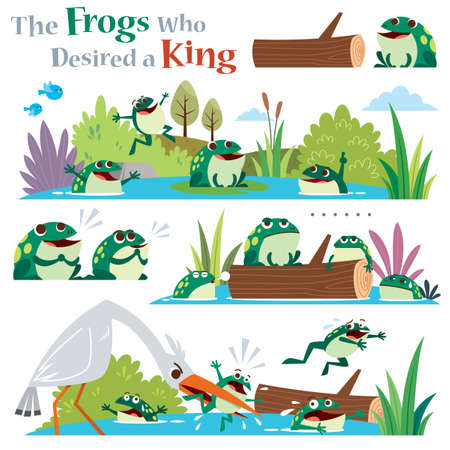 Vector Illustration of Cartoon characters The frogs who desired a king. Children's Fairy tale. Vectores