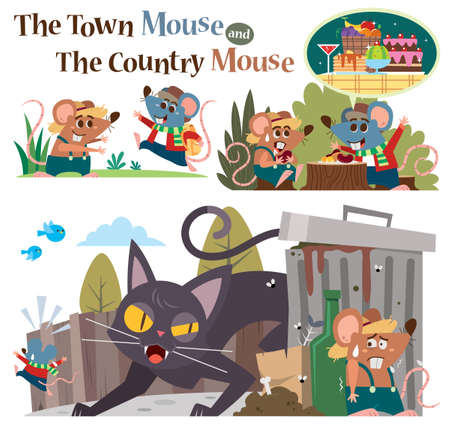 Vector Illustration of Cartoon characters The Town Mouse and the Country Mouse. Children's Fairy tale.