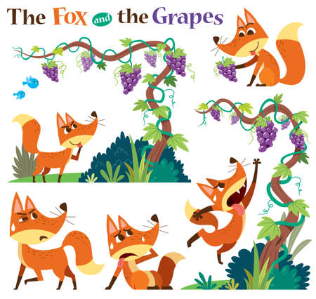 Vector Illustration of Cartoon characters The Fox and the Grapes. Children's Fairy tale. Vectores