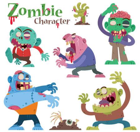 Vector illustration of Cartoon Set Zombie characters