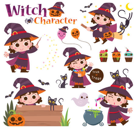 Vector illustration of Cartoon Set Witch characters