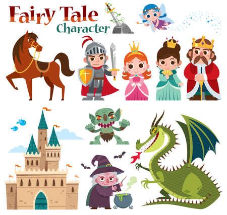 Vector illustration of Cartoon Set Fairy tales characters. Fantasy knight dragon and princess Vectores