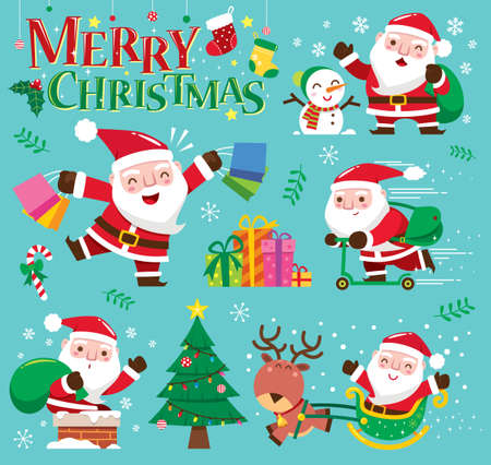 Vector illustration of Christmas Santa Claus collection Vectores