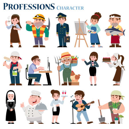 Vector illustration of Professions cartoon Character. Job collection