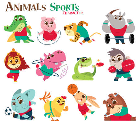 Vector illustration of Animals Sports Character cartoon. Animals player