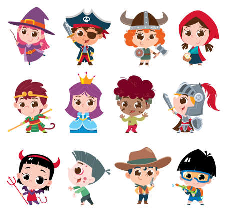 Vector illustration of Cartoon kids character. Kids collection