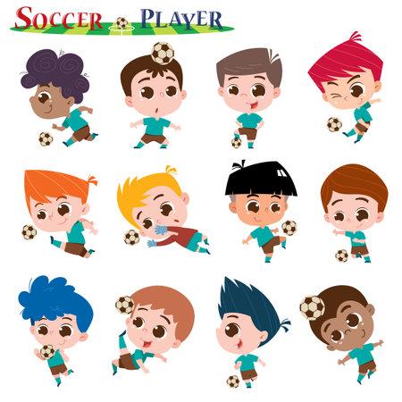 Vector illustration of Cartoon kids character. Soccer player set. Vectores