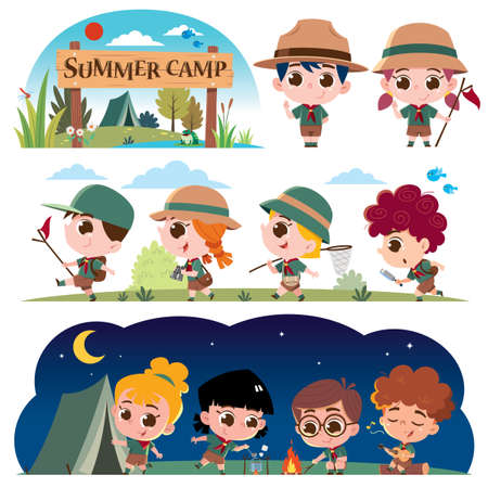 Vector illustration of Scout kids character. Summer camp scouts. Summer camp kids Vectores
