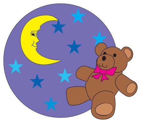The bear loors at stars.Vector Illustration. Vector
