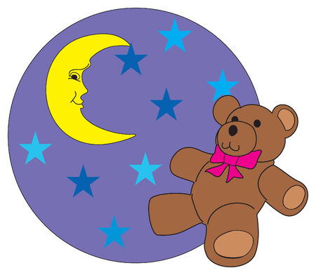 The bear loors at stars.Vector Illustration.