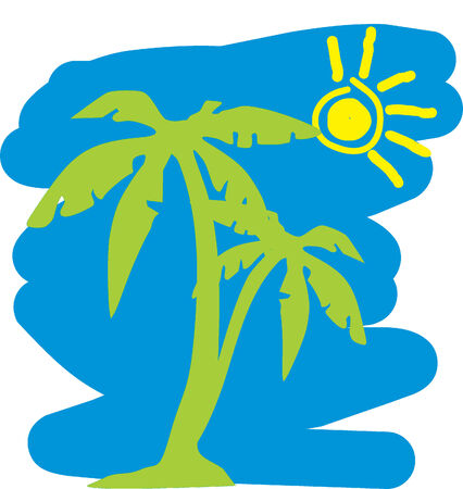 Rest on island.Vector Illustrator Vector