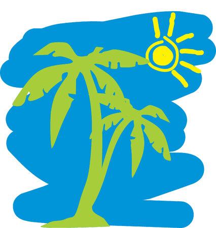 palm tree vector: Rest on island.Vector Illustrator Illustration