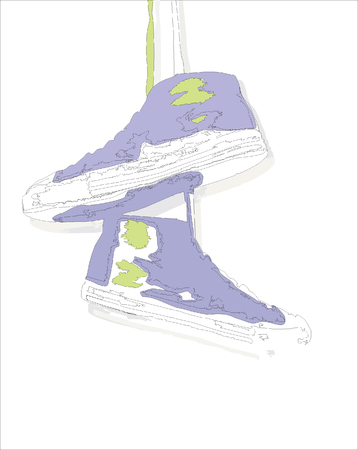 shoelaces: Boots weighing on laces.Vector Illustration. Illustration