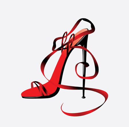 The barafoot person on a high heel. Vector Illustration