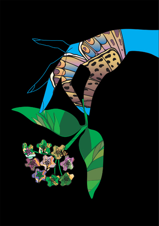 Graceful brush witha flower. Vector illustration