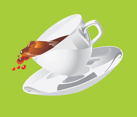 Movement of a cup with a saucer. Vector