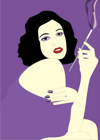 The girl with a gmoking cigarette.Vector Vector