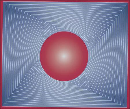 red sphere: Red sfera grigia in un quadrato. Vector