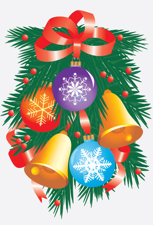 Christmas branch with bright toys. Vector illustration Vector