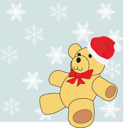 Christmas bear against snowflakes. Vector Vector