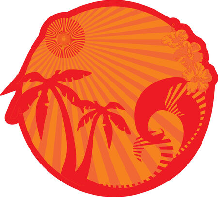 Rest on island.Vector Illustrator Illustration