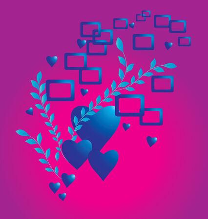 silhouete: Dark blue hearts on a shone background