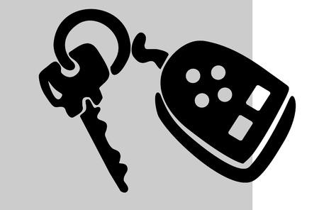 Car key with trinket, vector illustration