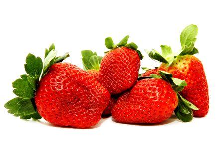 Fresh strawberry fruit isolated on white