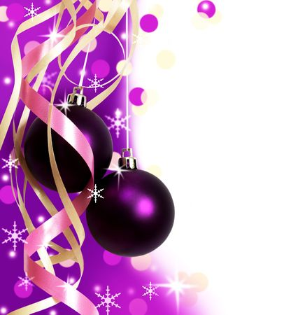 purple christmas baubles against white background  photo
