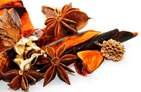 Scented potpourri on white background