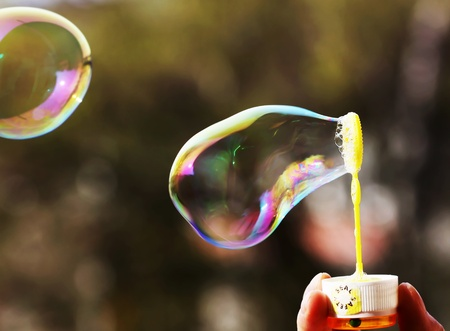 Soap bubbles on green background photo