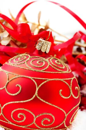 Christmas balls on white background.  photo