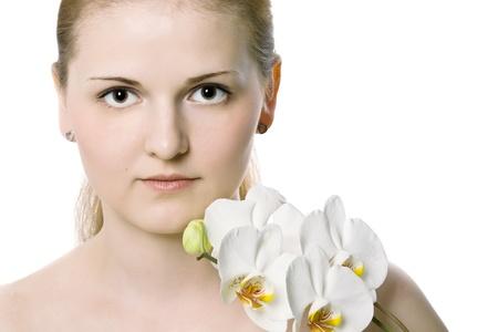 Portrait of beautiful female model on white background  photo