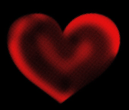 red halftone heart on a black background  Stock Photo - 17350985
