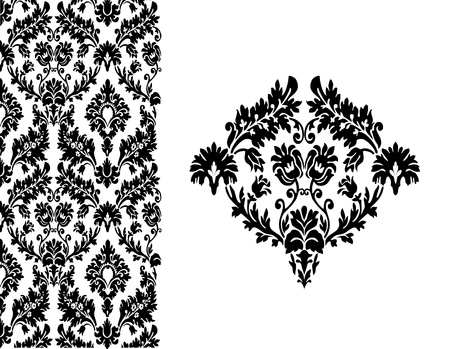 Seamless wallpaper background floral vintage vector Stock Vector - 18677420