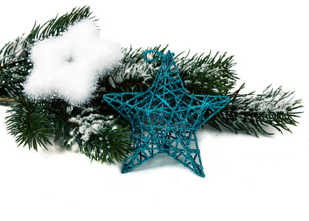 synopsis: christmas star and three  on white background