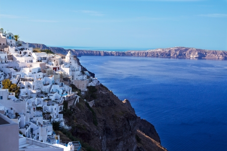 Panoramic view of the town of Fira, Santorini, Greece  Stock Photo
