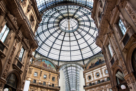 vittorio: Glass dome of Galleria Vittorio Emanuele in Milan, Italy Editorial