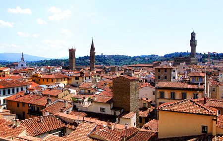 Top view from Giotto's Campanile on the historical center of Florence, Italy photo