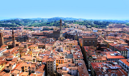 campanile: Top view from Campanile Giotto on the historical center of Florence, Italy Stock Photo
