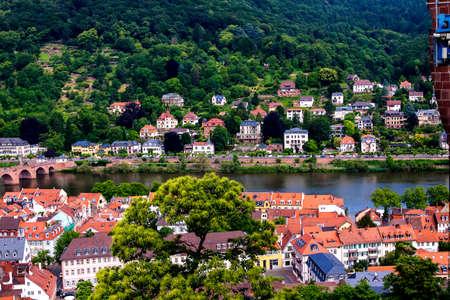 river: Neckar in Heidelberg. River cruises on scenic Neckar River are popular for visitors of Heidelberg.