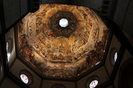 fresco: Jesus Christ Judgment Vasari Fresco Brunescellis Dome Duomo Basilica Cathedral Church Florence Italy Fresco done in the 1500s.