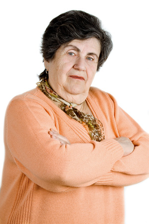 congenial: senior lady portrait on white background