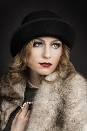 silent film: Retro Woman Portrait.  Beautiful Woman.