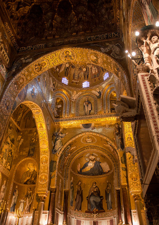 pantocrator: Christ Pantocrator from The Palatine Chapel, PALERMO ITALY Editorial