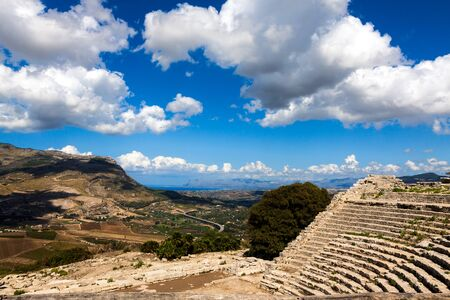 segesta: Ruins of the Greek Theater in Segesta, Sicily, Italy