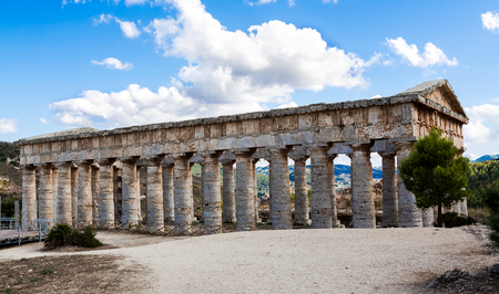 segesta: Background with the greek temple of Segesta, Sicily, Italy.
